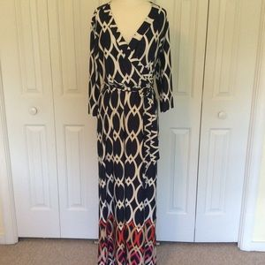 Cato's floor length, faux wrap maxi dress.